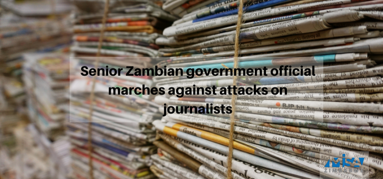 Senior Zambian government official marches against attacks on journalists